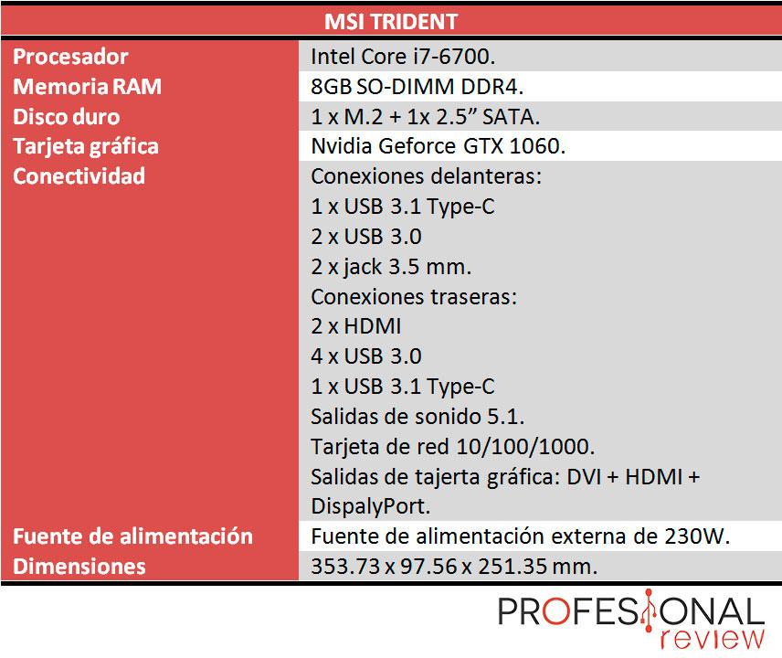 MSI Trident características técnicas