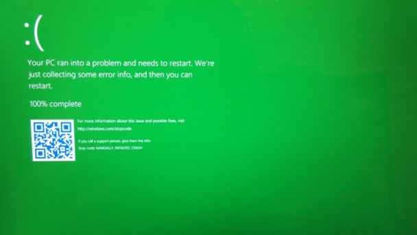 pantalla de la muerte windows 10 verde