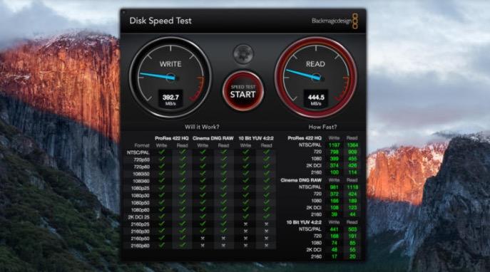 medir la velocidad del disco duro en Mac