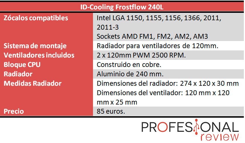 ID-Cooling Frostflow 240L caracteristicas