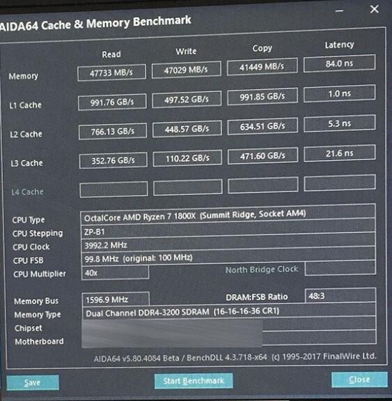 AMD Ryzen 1800X controladora de memoria y caché