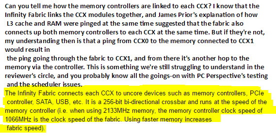 El ancho de banda interno de Ryzen depende de la RAM