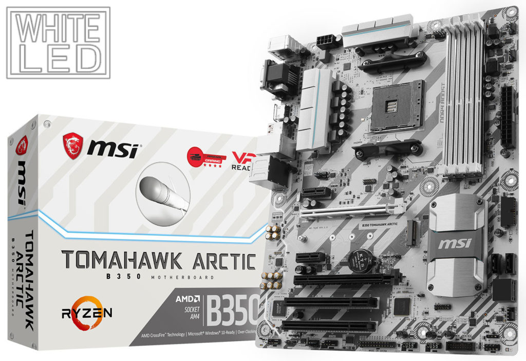 MSI  B350 Tomahawk Arctic y B350M Mortar Arctic se visten de blanco ártico