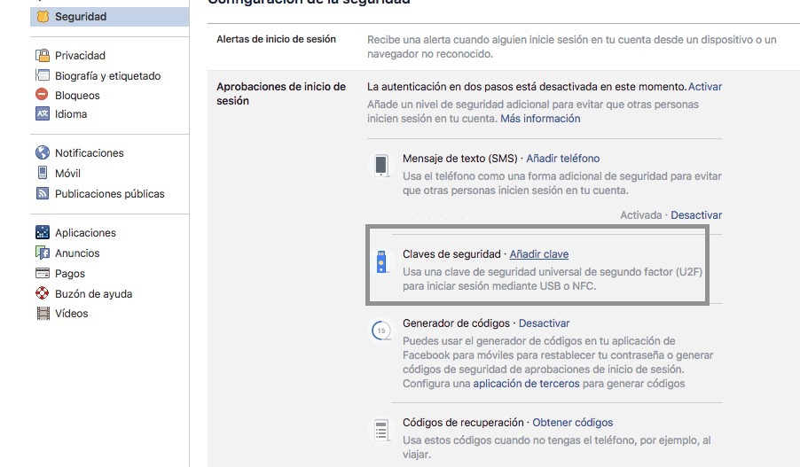 bloquear acceso cuenta facebook usb