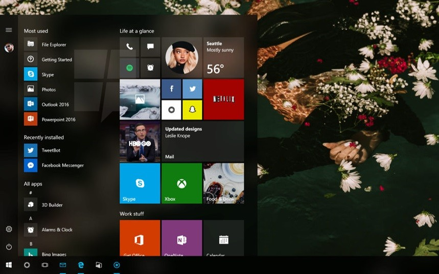 Windows 10 Redstone 3 - Menú Inicio