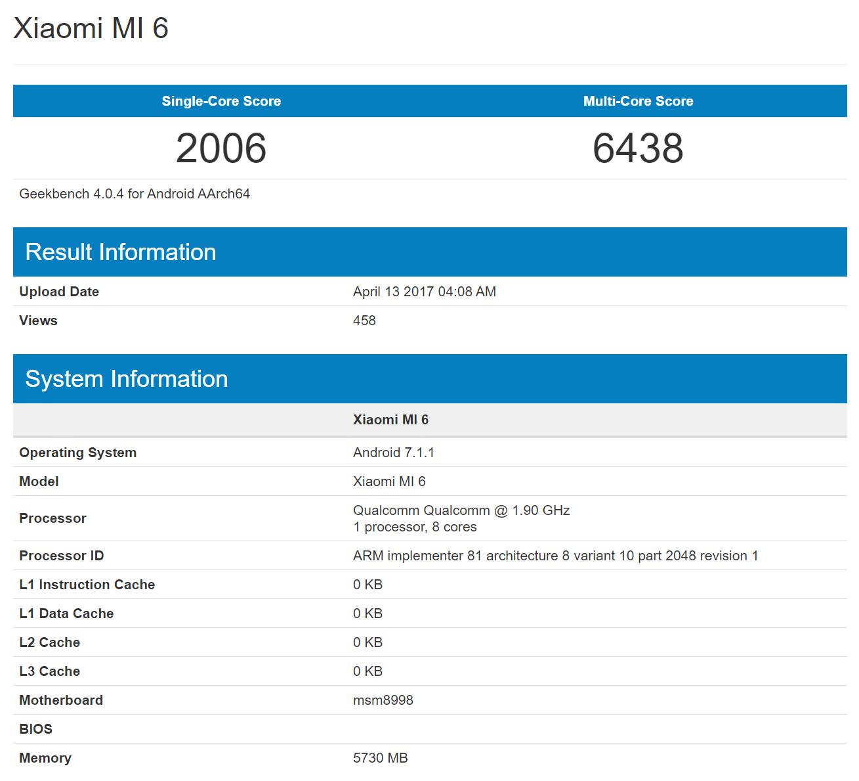 Xiaomi Mi6 muestra sus garras en Geekbench