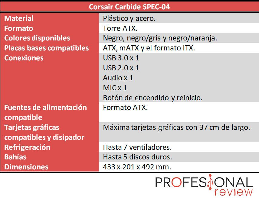 Corsair Carbide SPEC-04 caracteristicas