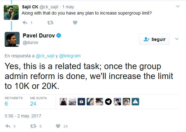 Los grupos de Telegram aumentan el límite de usuarios a 10 o 20 mil usuarios