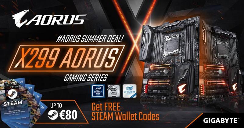 80 euros de regalo para Steam con Gigabyte X299