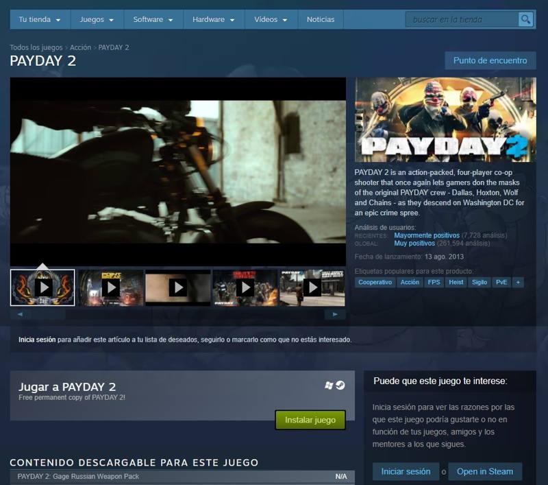 Payday 2 Gratis En Steam Para Siempre