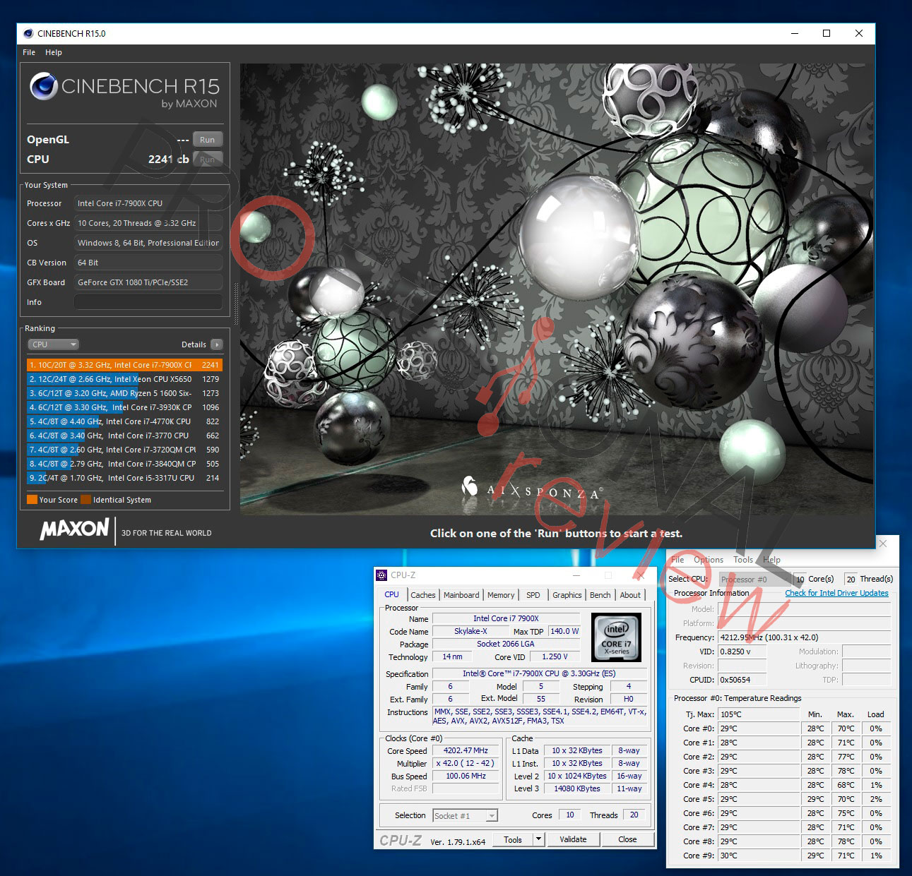 i9-7900X cinebench overclock