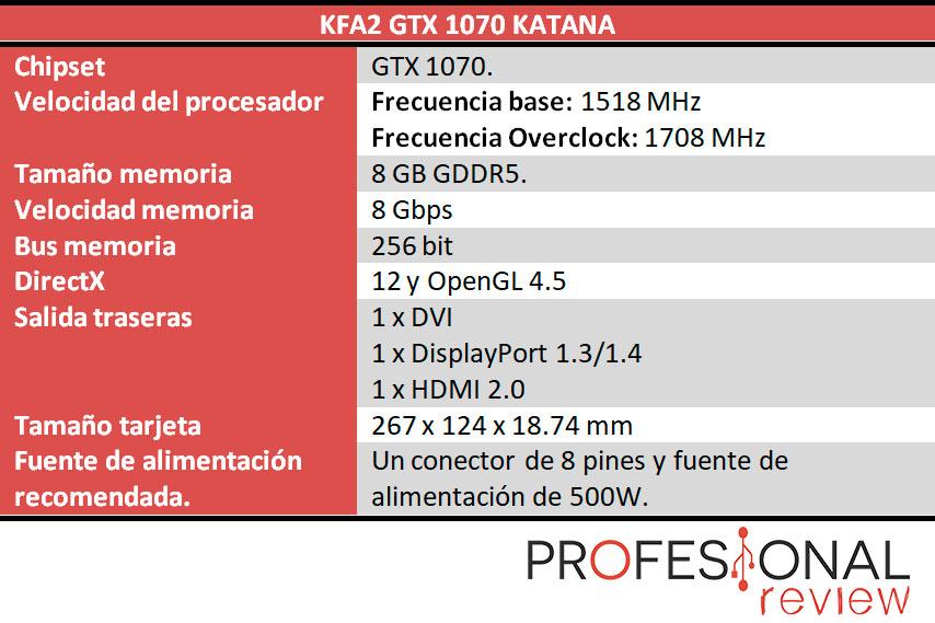 KFA2 GTX 1070 Katana caracteristicas