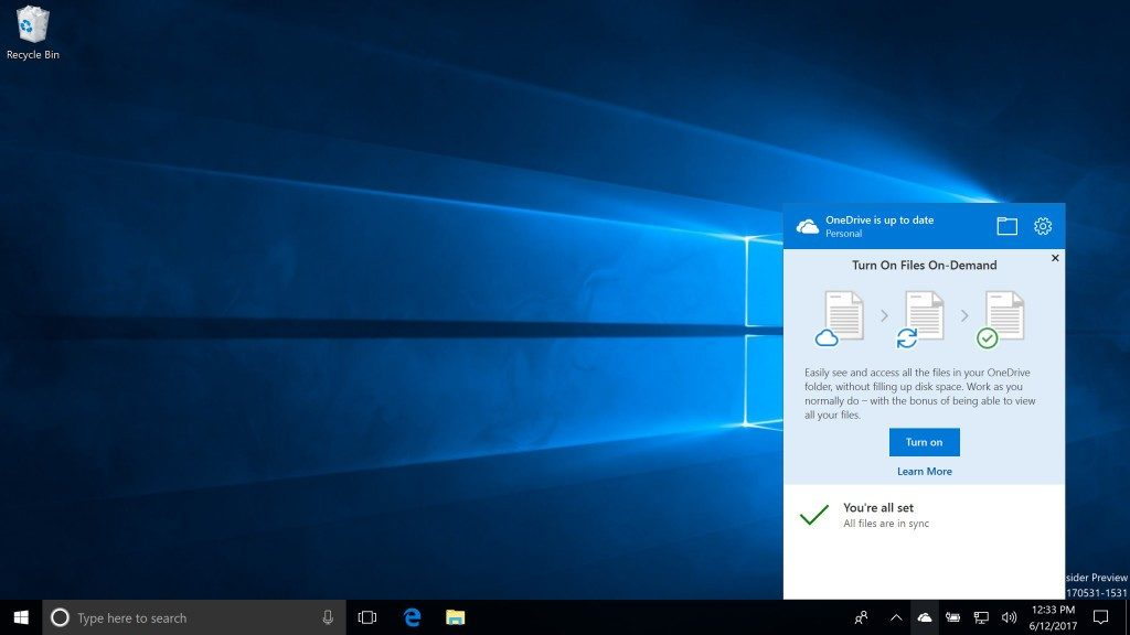 Sincronización bajo demanda en Windows 10