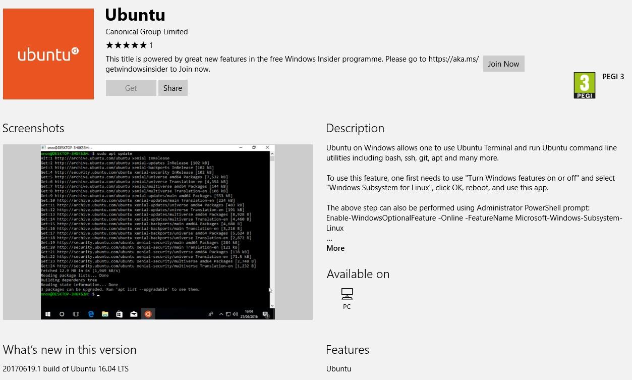 Ubuntu aterriza en la Windows 10 Store