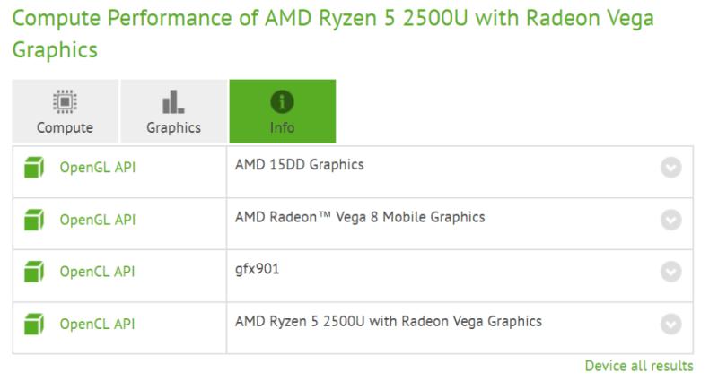 AMD Ryzen 5 2500U con gráficos Radeon Vega 8
