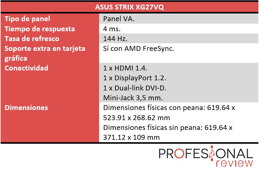 ASUS Strix XG27VQ caracteristicas