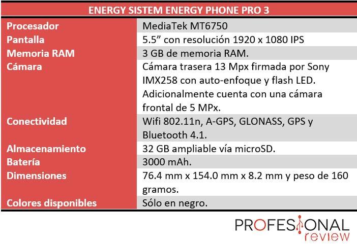 Energy Phone Pro 3 caracteristicas