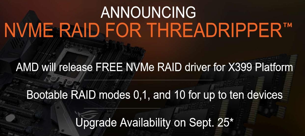 AMD Ryzen Threadripper será compatible con RAID NVMe