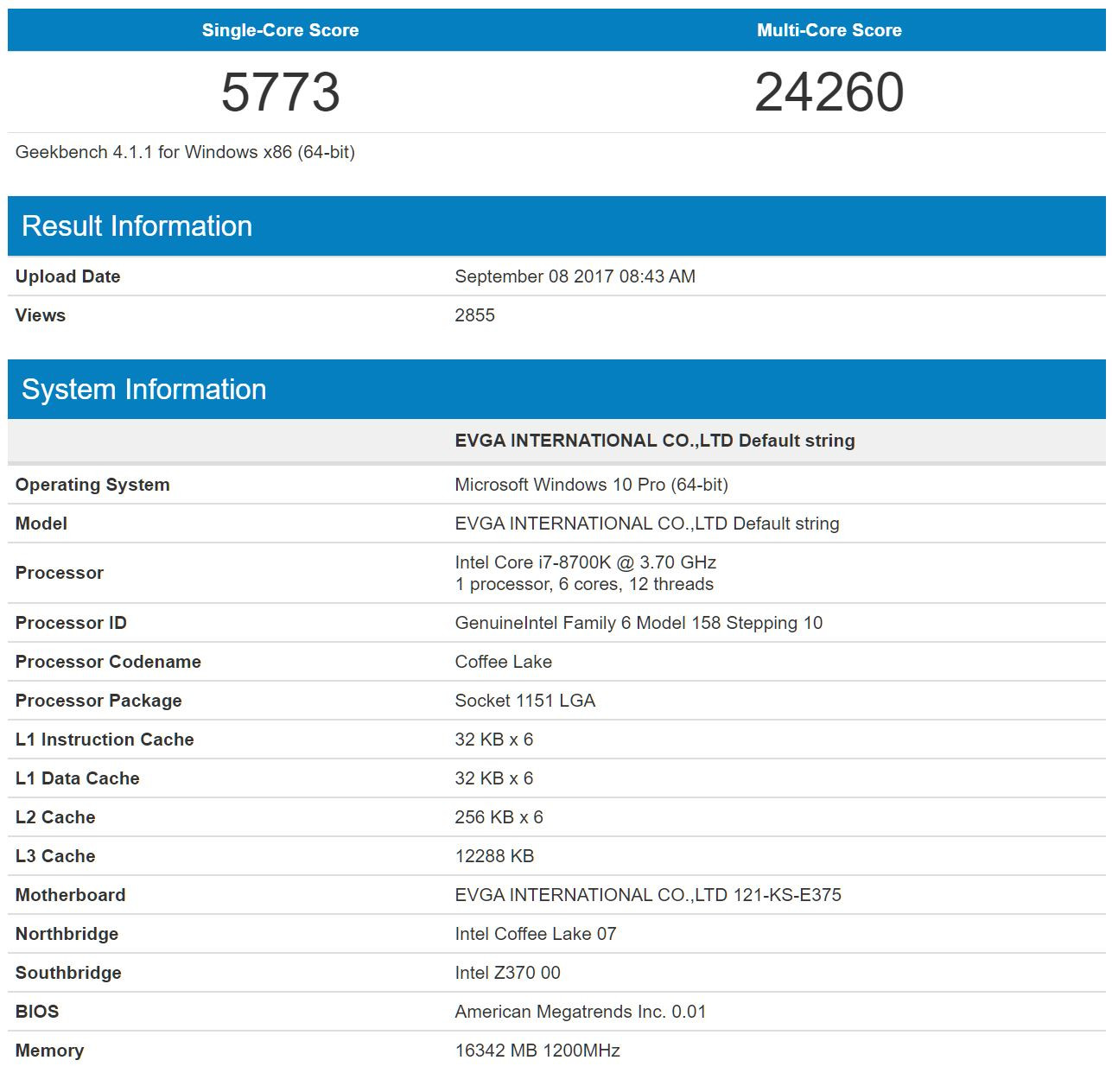 Core-i7 8700K asusta en Geekbench