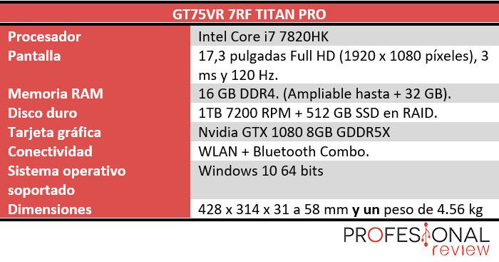 MSI GT75VR 7RF Titan Pro caracteristicas