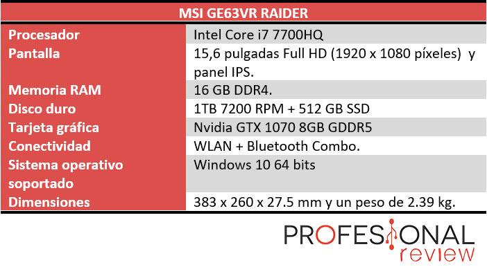 MSI G63VR Raider caracteristicas