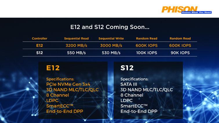 Phison E12 apunta a un rendimiento de hasta 3200 MB/s