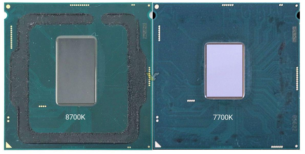 Core i7 8700K tiene un die más grande