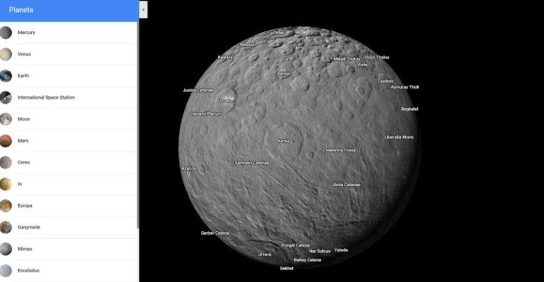 Explora más planetas y lunas con Google Maps