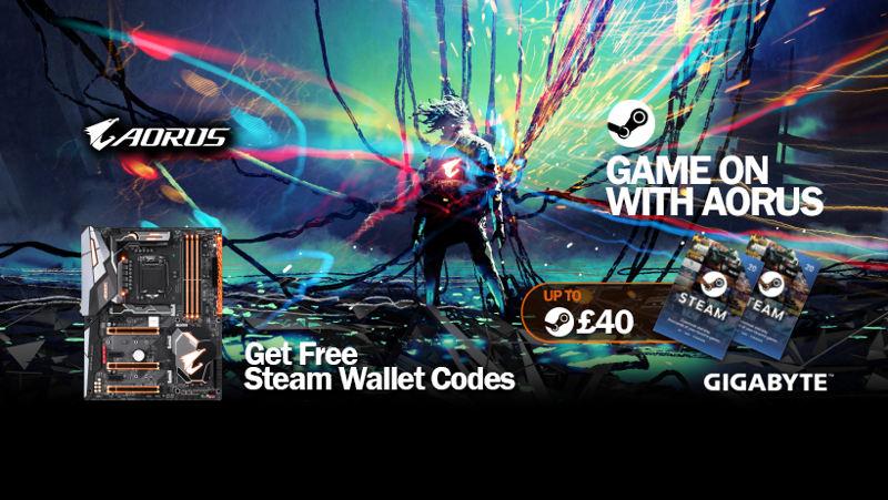 Recibe un códigoSteam Wallet por la compra de una placa base Gigabyte Aorus
