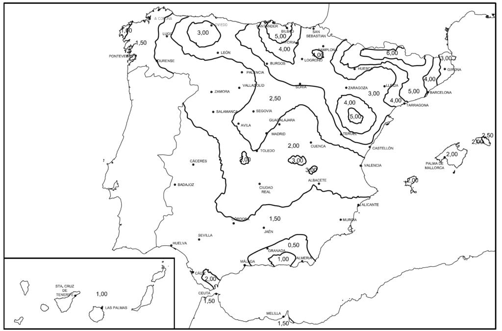 Mapa de densidad de impactos de rayos en España