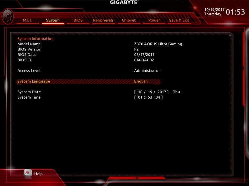 Gigabyte Aorus Z370 Ultra Gaming bios