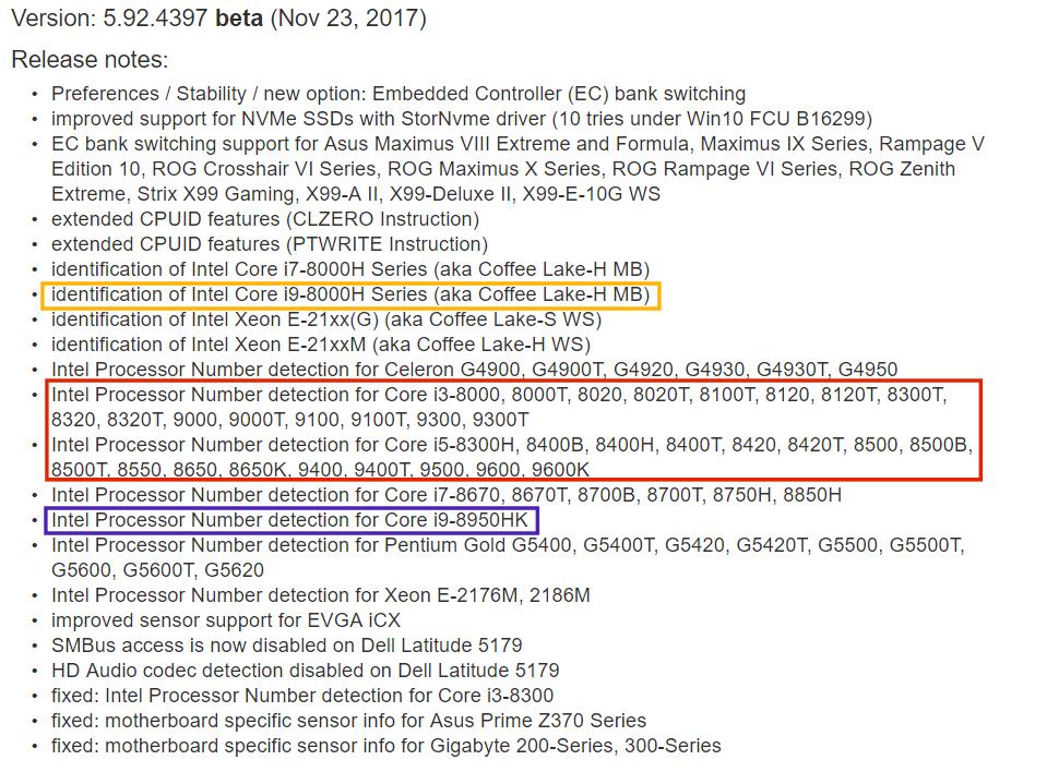Intel Coffee Lake Core i9 para portátiles