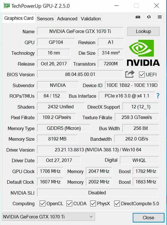 Nvidia GTX 1070 Ti GPU-Z
