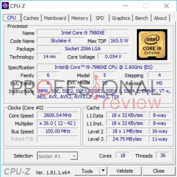 Intel Core i9-7980XE cpuz