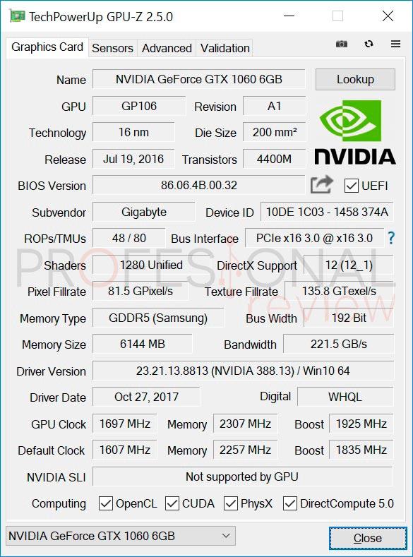 Aorus GTX 1060 GPUz
