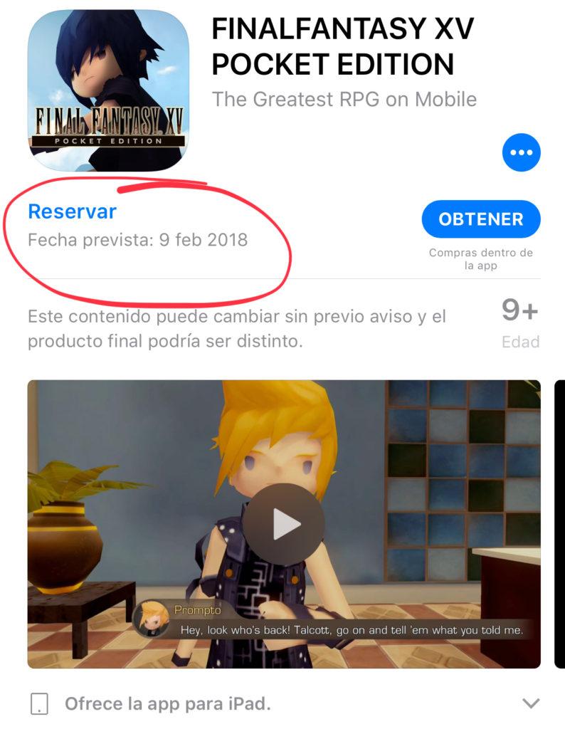 """Ya puedes reservar """"Final Fantasy XV: Pocket Edition"""" para iPhone y iPad"""