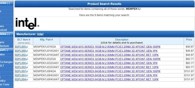 Intel Optane MEM M10 listados