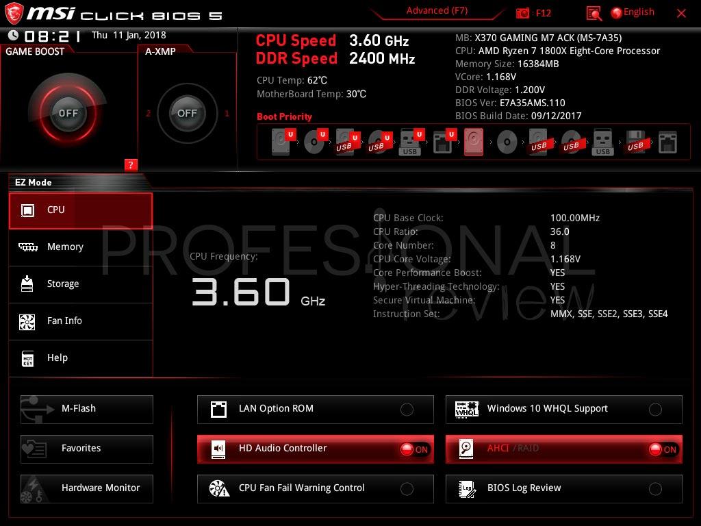 MSI X370 Gaming M7 ACK BIOS