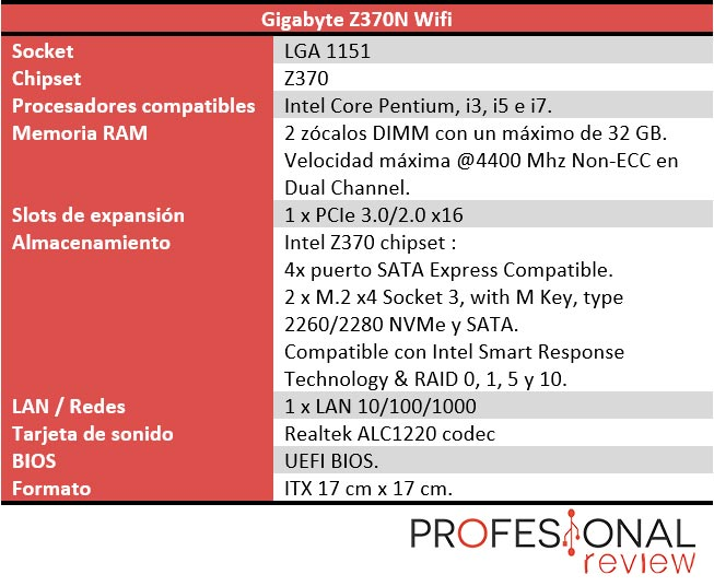 Gigabyte Z370N Wifi caracteristicas