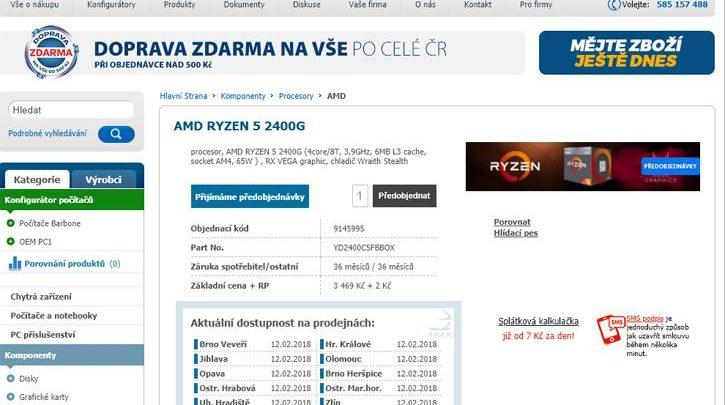 Photo of AMD Ryzen 5 2400G ya ha sido listado en la República Checa