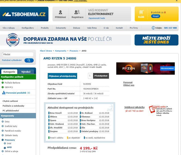 AMD Ryzen 5 2400G listado por 166 euros