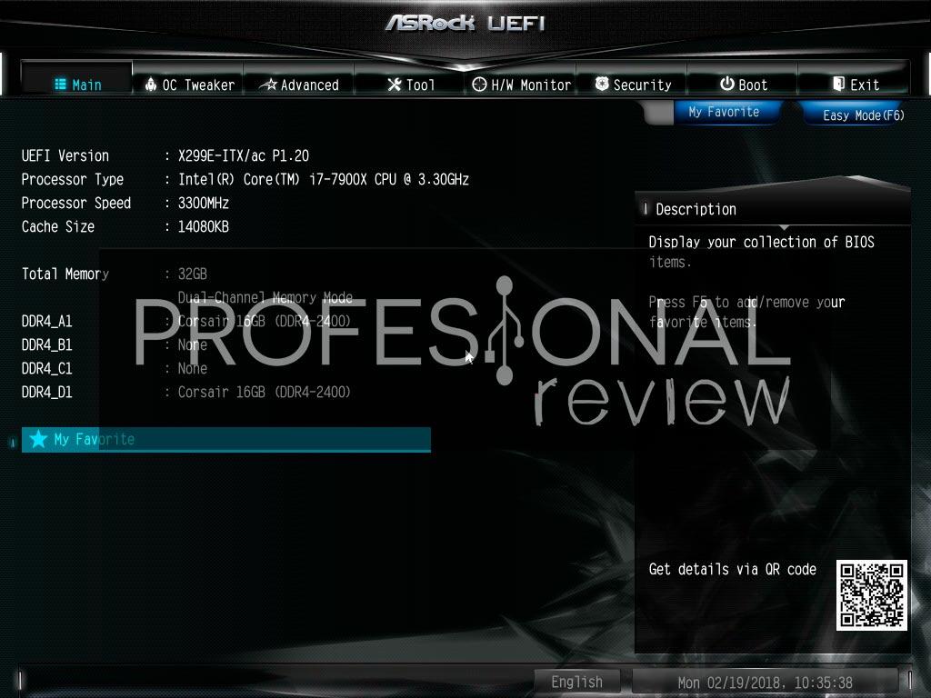 ASRock X299E-ITX/ac BIOS