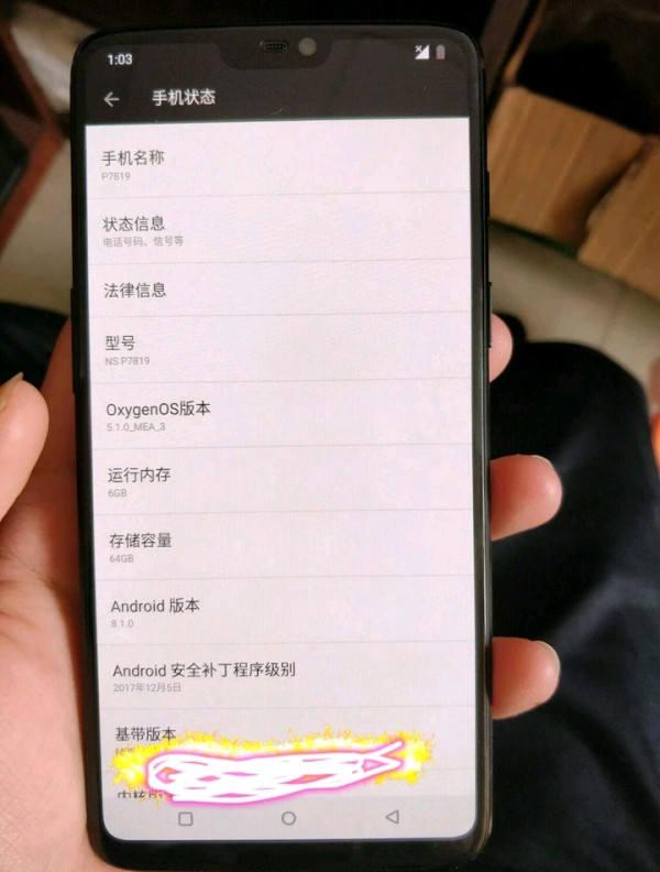 OnePlus 6 también tiene el Notch