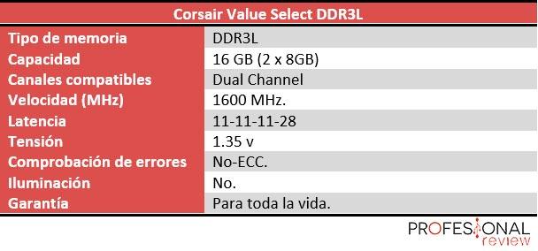Corsair Value Select DDR3L SO-DIMM características