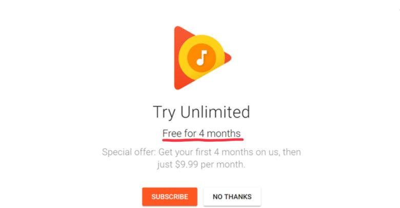 Cuatro meses gratis de Google Play Music