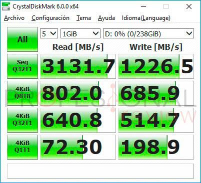 Intel 760p crystal disk mark
