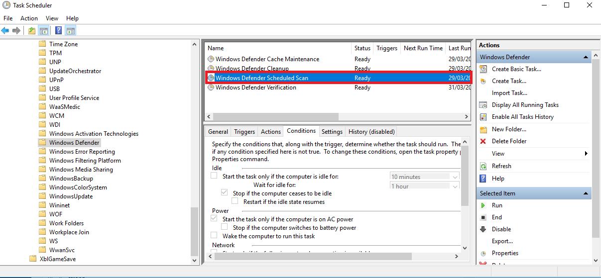 Windows Defender programar