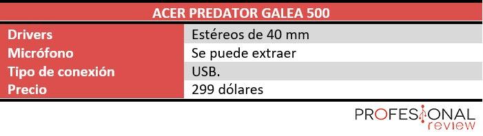 Acer Predator Galea 500 características