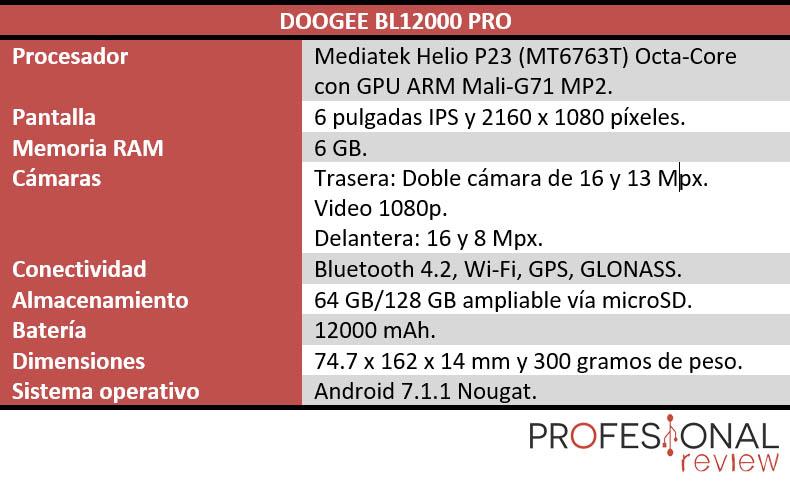 Doogee BL12000 Pro Caracteristicas