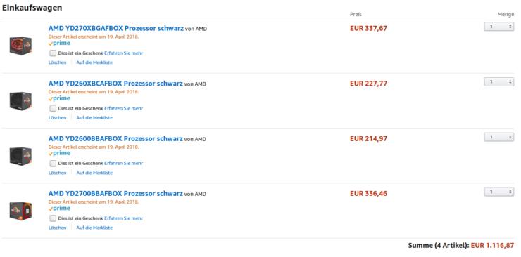 Amazon lista los precios de los Ryzen de segunda generación